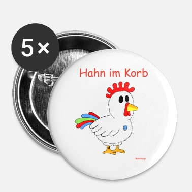 Haan Haan in de mand - Buttons klein 25 mm (5-pack)