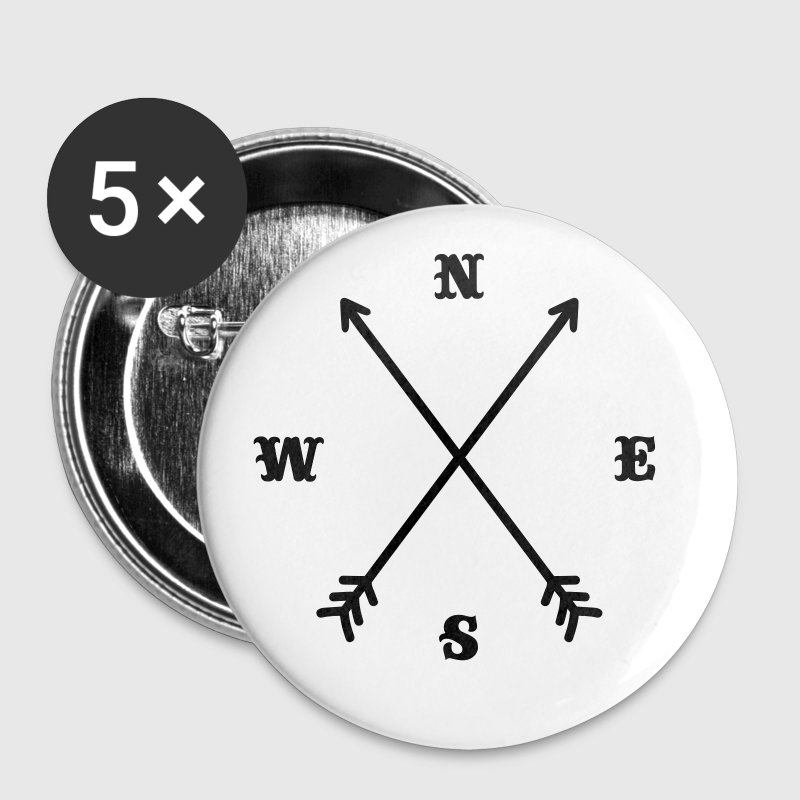 Hipster compass / Cross - Modern Trendy Outfit - Buttons small 25 mm