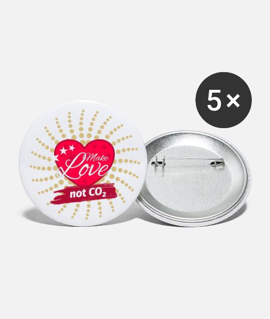 Love Buttons - Make Love not CO2 Climate Protection Statement - Small Buttons white