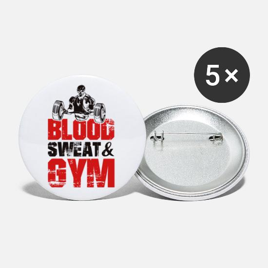 Body Builder Buttons - Gym saying skeleton - Small Buttons white