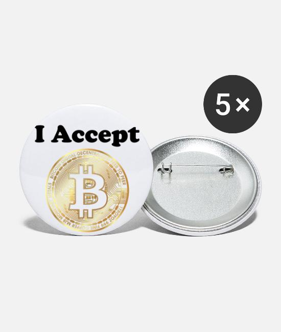 Birthday Buttons - I Accept Bitcoin - Small Buttons white