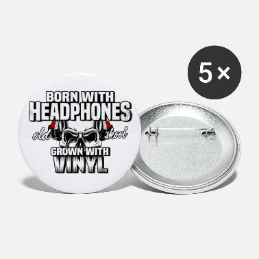 Breakbeat born with headphones shirt oldschool vinyl - Buttons klein