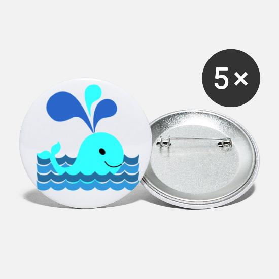 Wale Buttons - Whale in the sea - whale in the sea - Small Buttons white