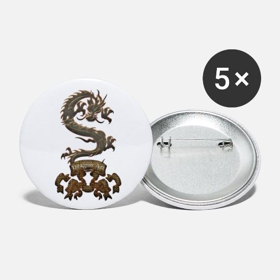 Floral Buttons - Awesome Chinese Dragon - Small Buttons white