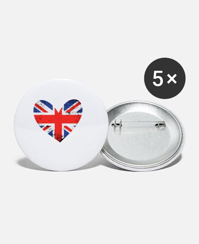 Heart Buttons - Great Britain heart - Small Buttons white