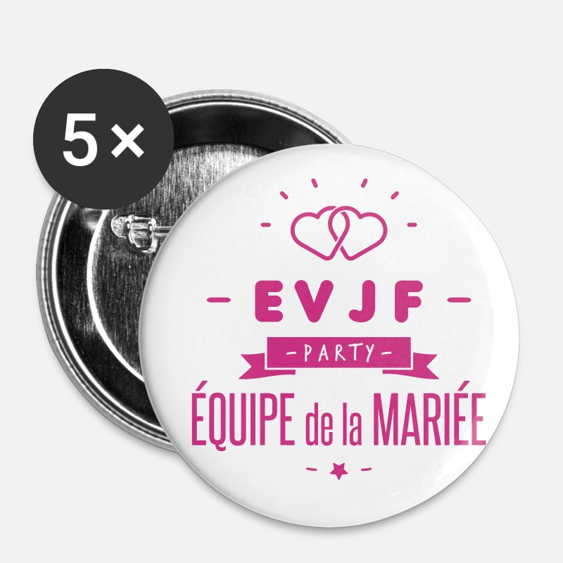 Mariage Badges - EVJF party - Petits badges blanc