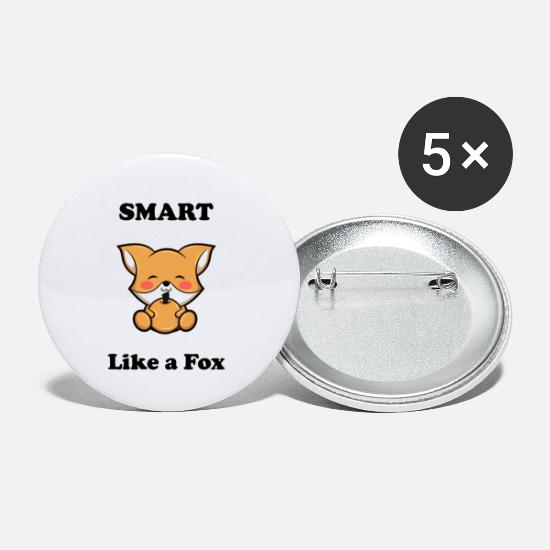 Birthday Buttons - Fox Smart like a Fox Smart as a fox - Small Buttons white