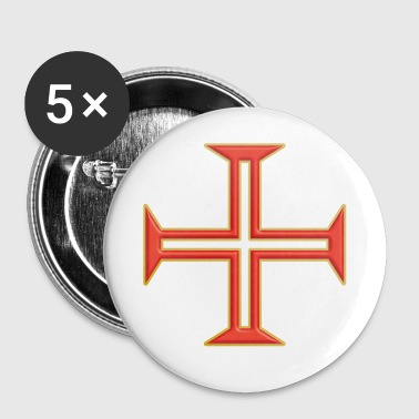 Kreuz Christusritter Goldrand - Buttons klein 25 mm
