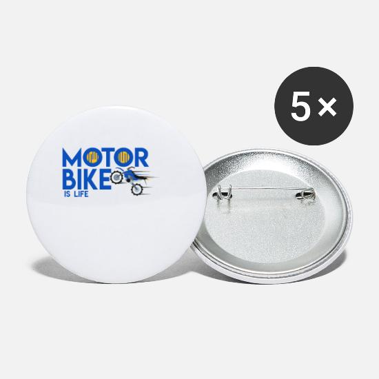 Motor Buttons & Anstecker - motor Bike is life - Buttons klein Weiß
