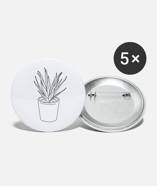 Garden Buttons - Plant, plant, outline, line art, garden - Small Buttons white