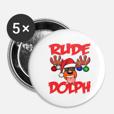 Rude Rude Dolph Christmas Rowdy - Buttons klein 25 mm (5-pack)