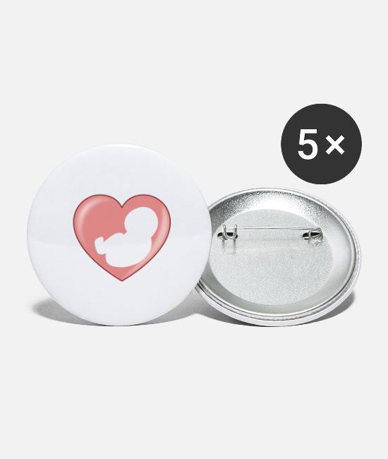 Birthday Buttons - Baby birth heart - birth heart - Small Buttons white