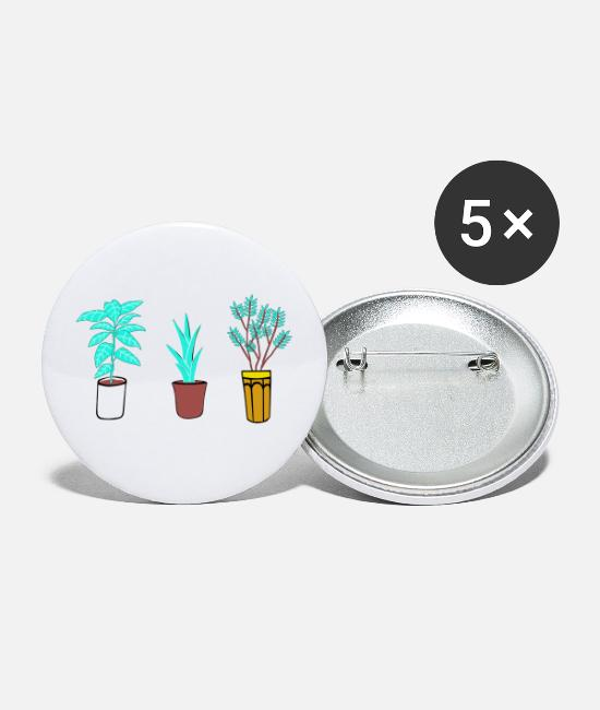 Hipster Buttons - Plant Bloom Graphic - Small Buttons white
