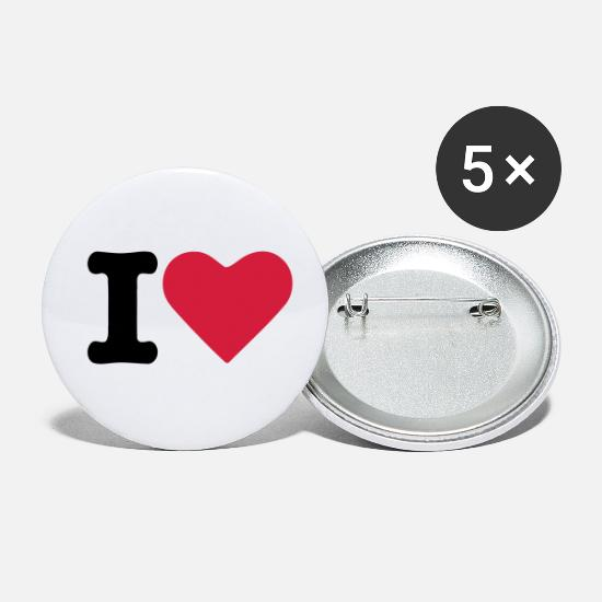 Cœur Badges - I Love - Petits badges blanc