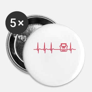 Writing Writing Auteur Heartbeat Journaliste Fun cadeau - Badge petit 25 mm