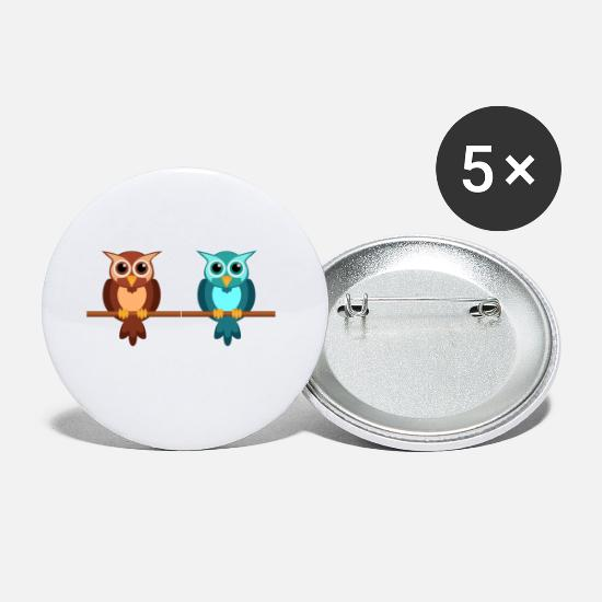 Pink Buttons - Owl Couple - Small Buttons white