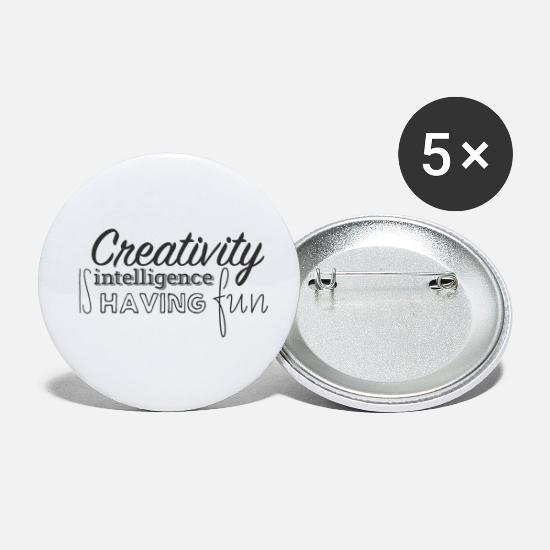 Typography Buttons - Creativity is intelligence having fun - Small Buttons white