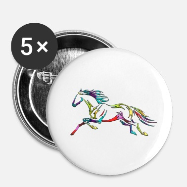 Galop Rainbow Tribal Horse Galop Tattoo kleurrijke - Buttons klein 25 mm (5-pack)