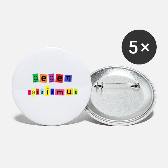 Gift Idea Buttons - against racism in colorful black - Small Buttons white