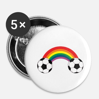 Soccer Ball Soccer rainbow balls colorful Homo gay gay - Buttons klein 25 mm (5-pack)