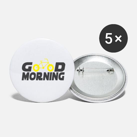 Guten Morgen Fahrrad Sport Geschenk Buttons Klein 25 Mm 5er Pack Weiß