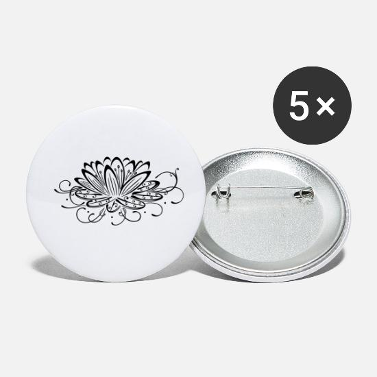 Yoga Buttons - Filigree lotus with leaves, yoga - Small Buttons white
