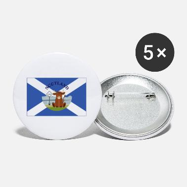 Scotland Highland Cow Saltire Flag - Small Buttons