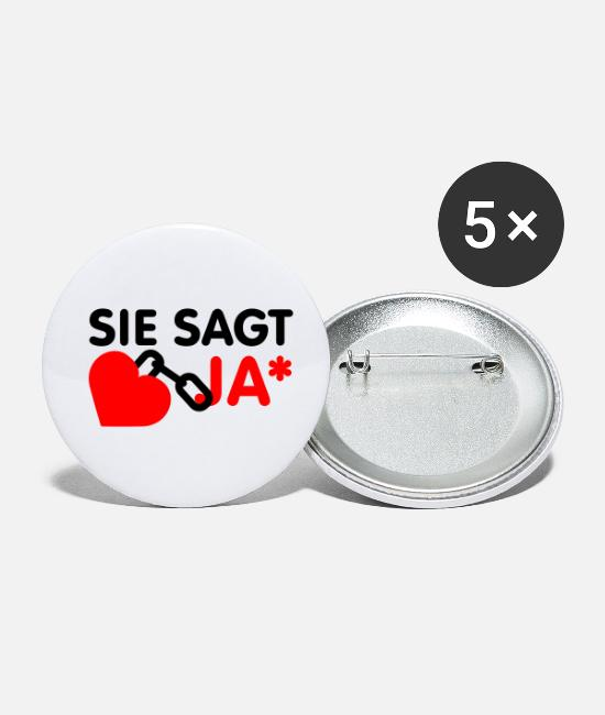 Design Buttons - Sie sagt ja | Herz | Heart - Small Buttons white