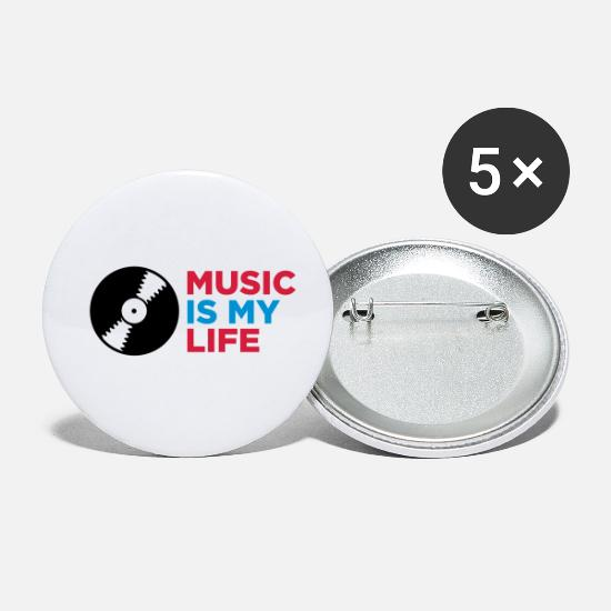 Dj Buttons - music is my life - Small Buttons white