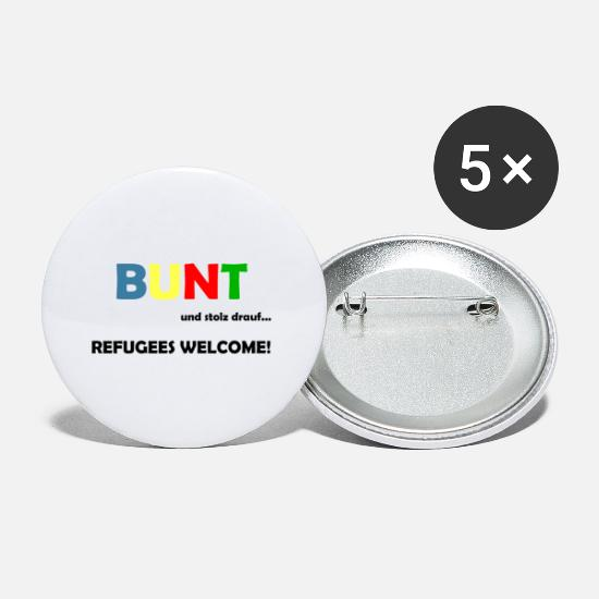 Refugees Welcome Buttons & Anstecker - Refugees Welcome - Buttons klein Weiß