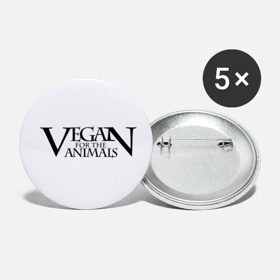 Animal Rights Activists Buttons - VEGAN FOR THE ANIMALS - Small Buttons white