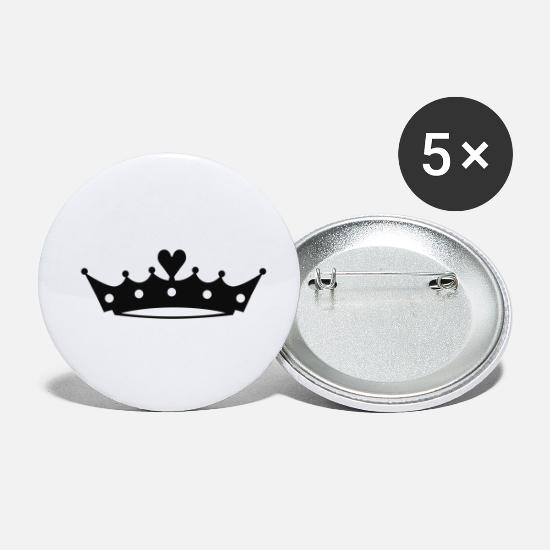 Symbole & Formen Buttons & Anstecker - Crown with Heart - Buttons klein Weiß
