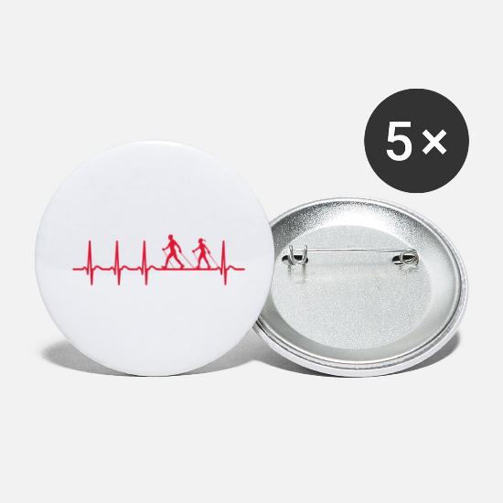 Gift Idea Buttons - Heartbeat Nordic Walking Shirt Cool Group Funny - Small Buttons white