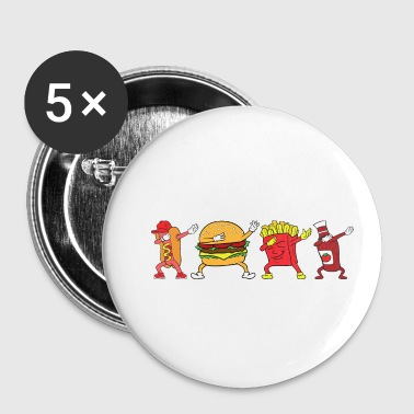 Dabbing Dab Hot Dog Burger Ketchup Frites BBQ - Badge petit 25 mm