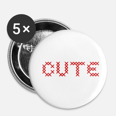Croix Rouge CUTE au point de croix rouge - Badge petit 25 mm