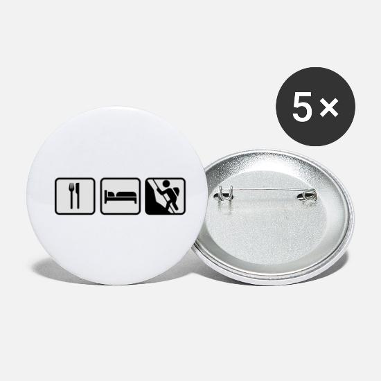 Escalade Badges - Eat Sleep Climbing; Essen Schlafen Klettern - Petits badges blanc