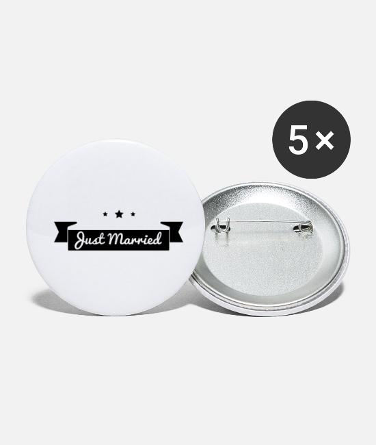Heart Buttons - Just married - Small Buttons white