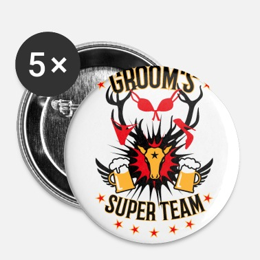 Game Over 155 Grooms Super Team Deer Head Beer - Små knappar 25 mm
