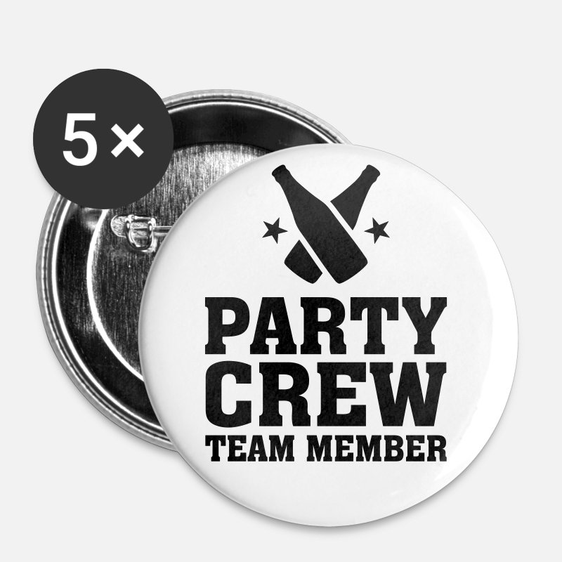 Jubilee Party Buttons - Party Crew Team Member partys birthday jubilee - Small Buttons white