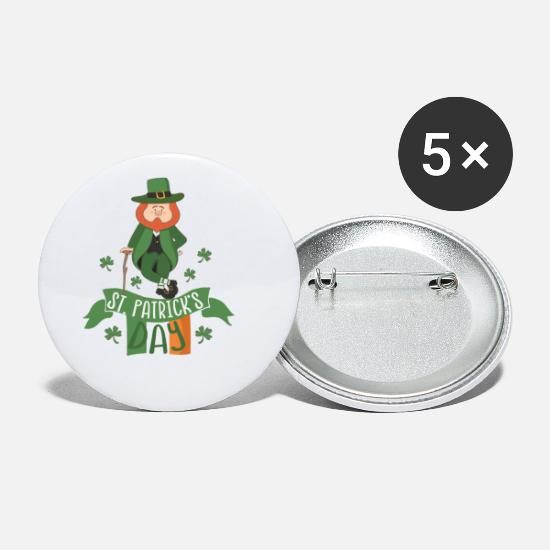 St Buttons & Anstecker - St. Patricks Day: Irish Leprechaun Kobold 17. März - Buttons klein Weiß