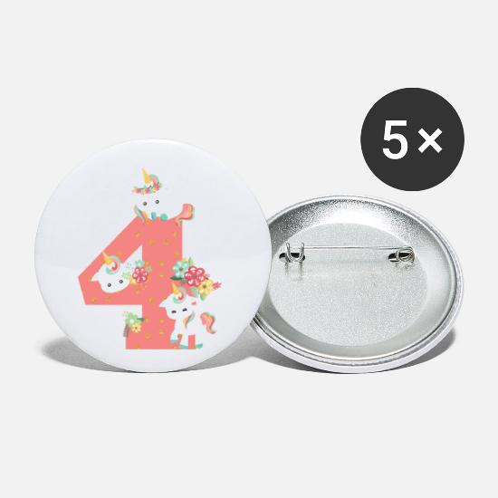 Birthday Buttons - 4th birthday number children unicorns baby animals 4th - Small Buttons white