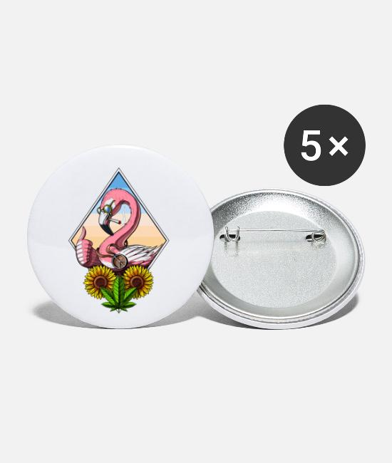 Hippie Festival Buttons - Flamingo Smoking Weed - Small Buttons white