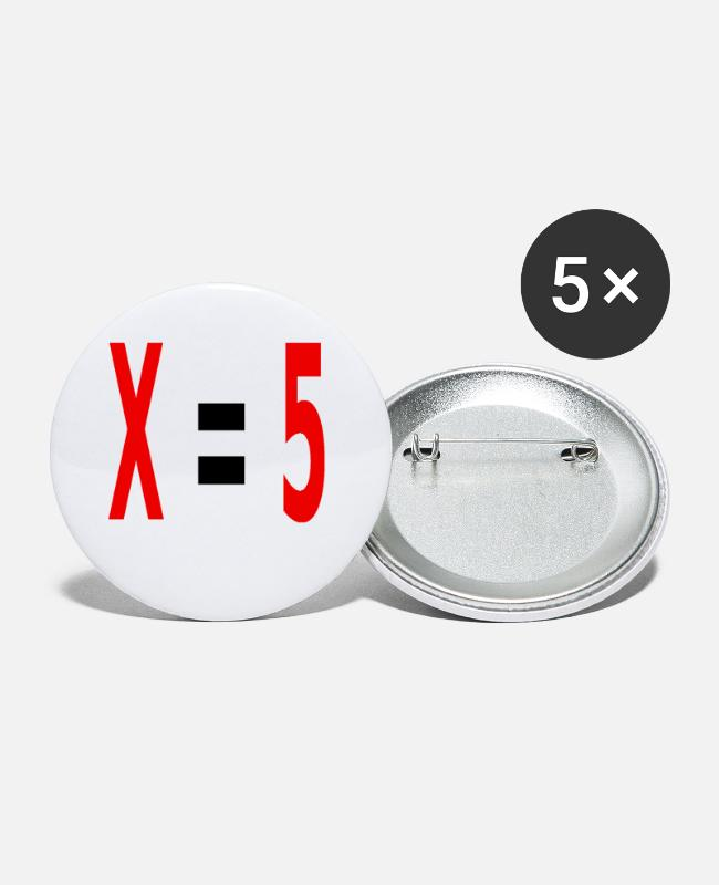 Maths Buttons - x equals 5 v2 black - Small Buttons white