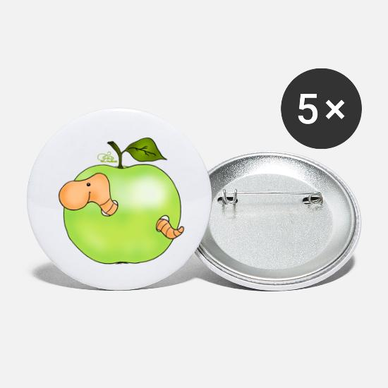 Grappige Buttons - Apple worm in Granny Smith - Buttons klein wit