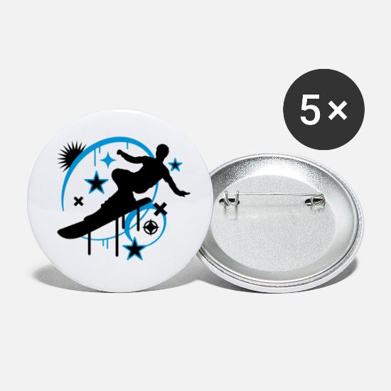Skies Buttons - Snowboarder in Action - Small Buttons white