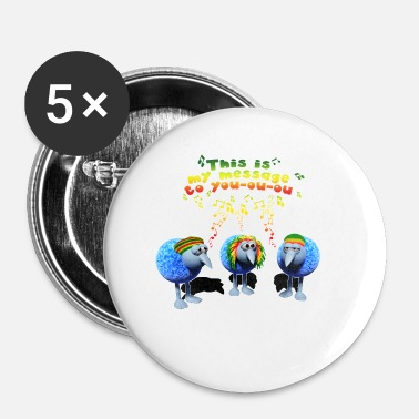three little RASTA birds - Buttons klein 25 mm