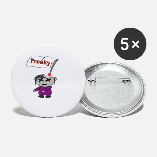 Finger Buttons & badges - Freaky freaky Happy Halloween kras blod - Små buttons hvid