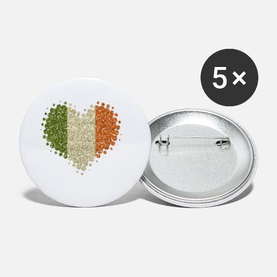 Love Buttons - I Love Ireland Glitter Irish Home Country Éire - Small Buttons white