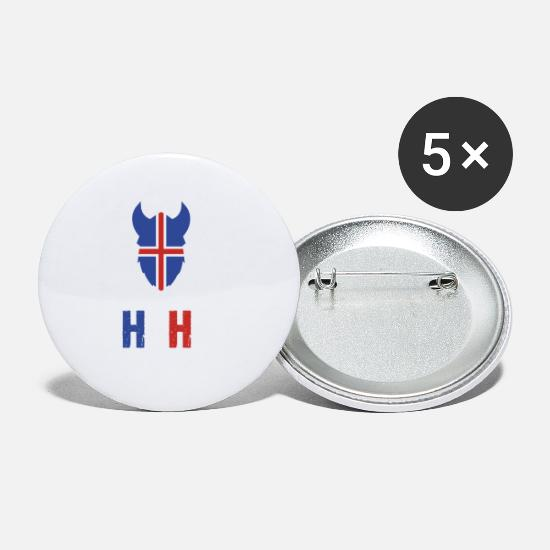 National Team Buttons - Iceland national team fan shirt battle cry - Small Buttons white