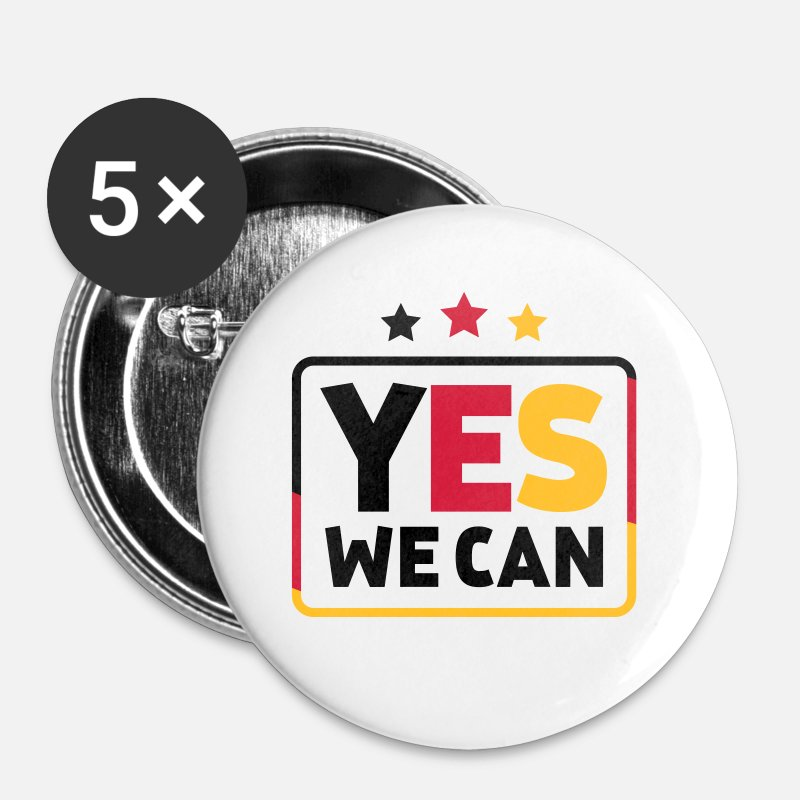 We Buttons - Yes we can Black Red Gold Germany soccer fan - Small Buttons white